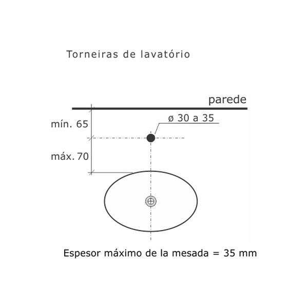 Torneira de Lavatório Digital Line Banca Cromado Dn15 1/2 1190-DL-CR Fabrimar