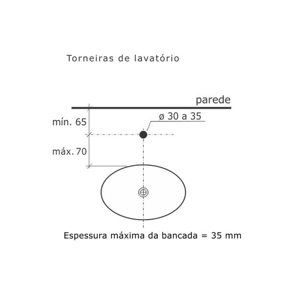 Torneira de Lavatório Lyon Banca Tubo Fixo Cromado Dn15 1/2 1192-LY-CR Fabrimar