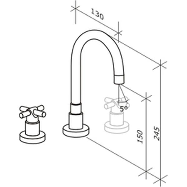 Misturador de Lavatório Loft Design Cromado Tubo C-1876-DS-CR Fabrimar