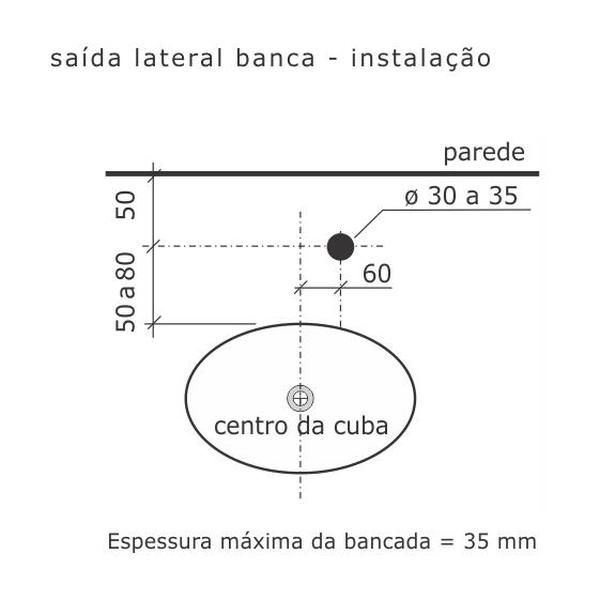 Torneira de Saída Lateral Misty Cromado Banca 1167-MY Fabrimar
