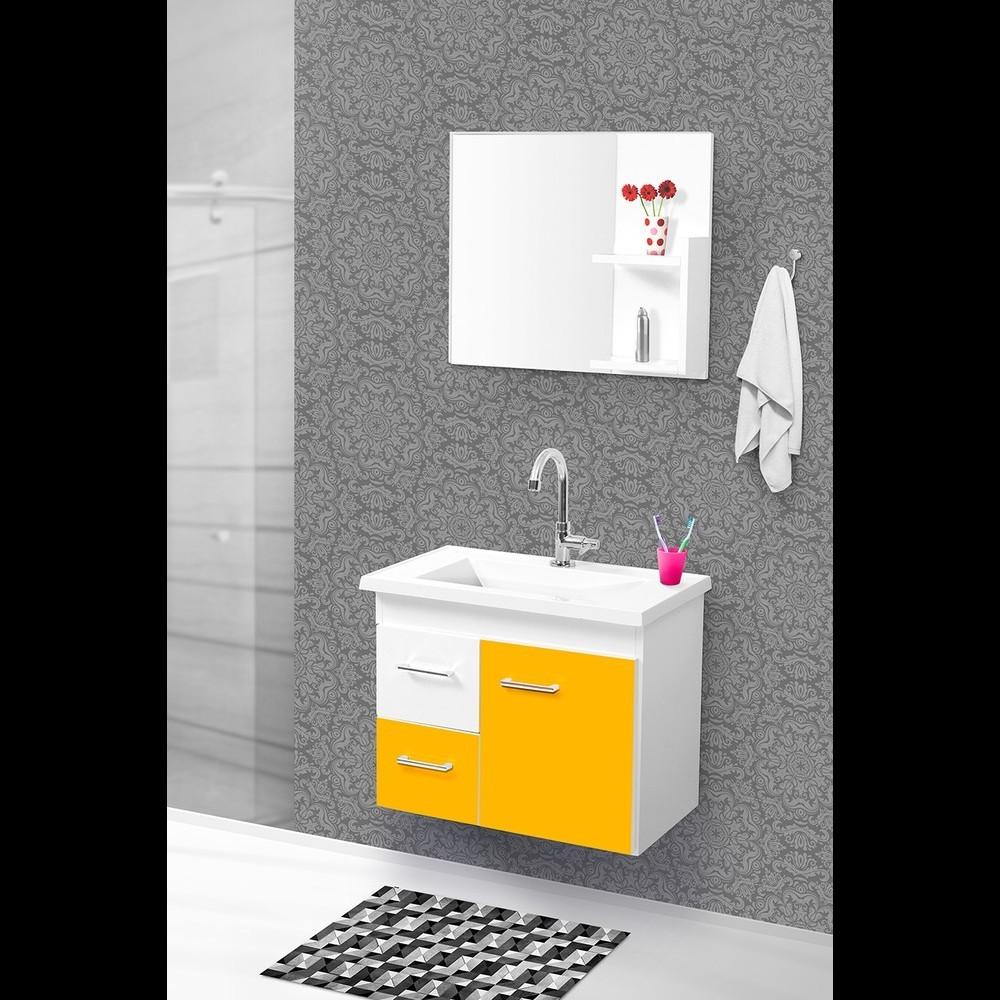 Conjunto Quality Banheiro 60cm C/esp. Branco/amarelo Pç Fimap
