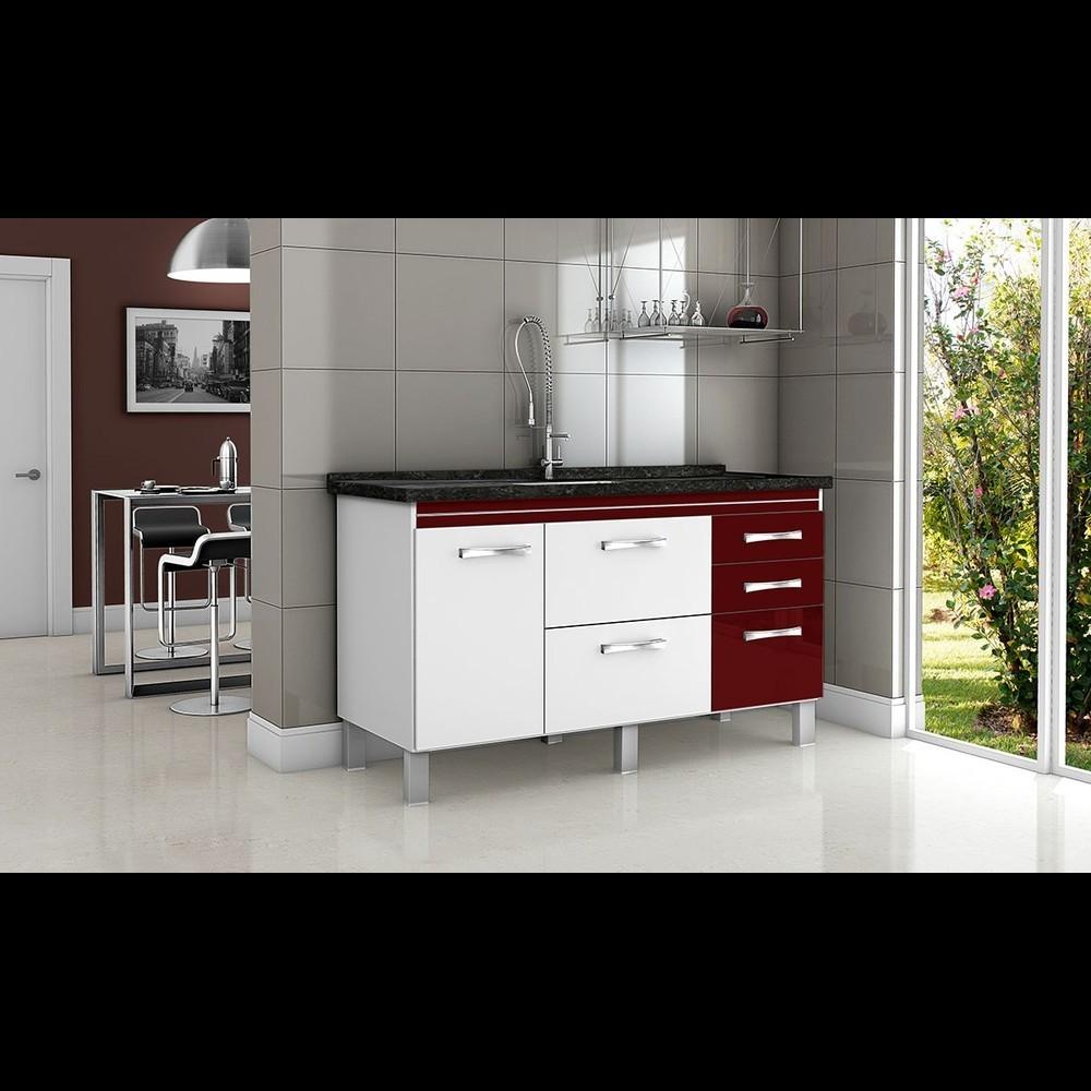 Gabinete Cozinha Magnus 1,44m Branco/bordô Pç Fimap
