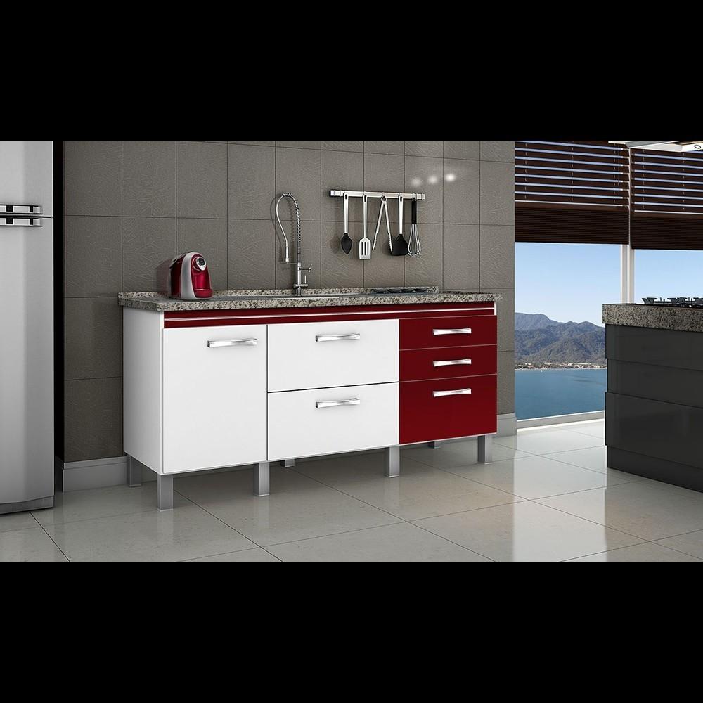 Gabinete Cozinha Magnus 1,74m Branco/bordô Pç Fimap
