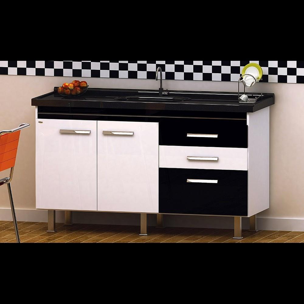 Gabinete Cozinha Criattiva 1,44m Branco/preto Pç Fimap