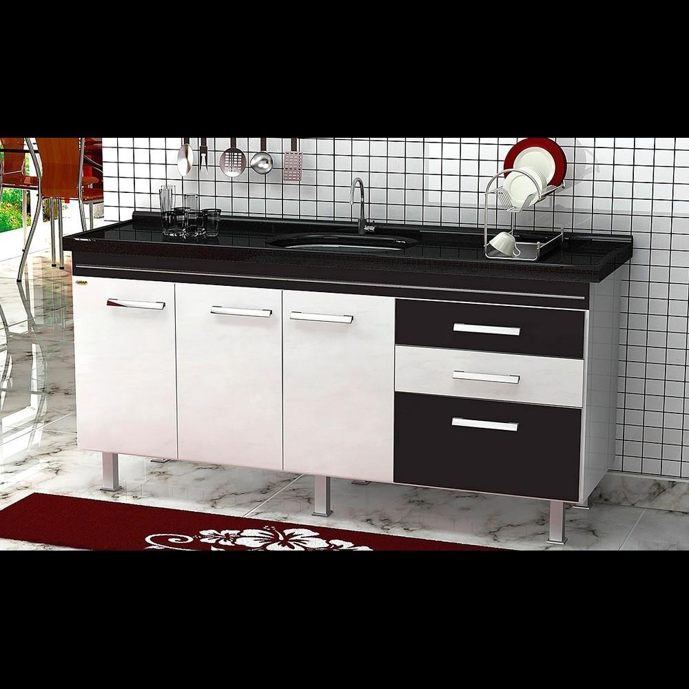 Gabinete Cozinha Criattiva 1,74m Branco/preto Pç Fimap