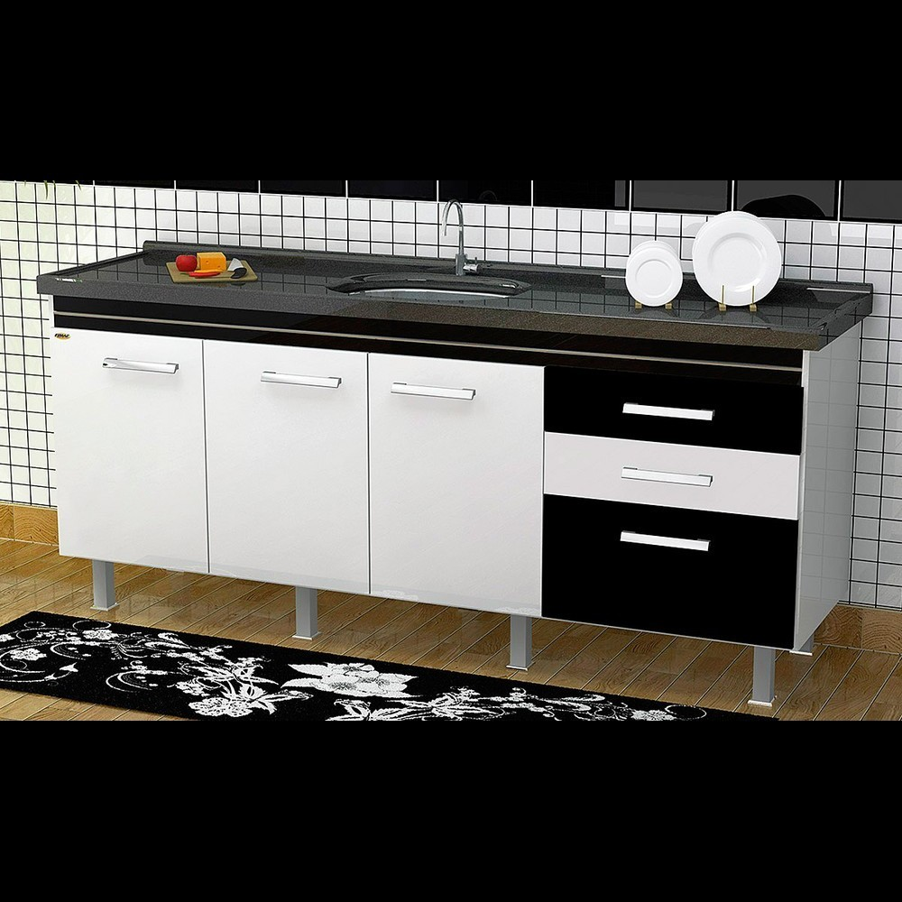 Gabinete Cozinha Criattiva 1,94M Branco/Preto Pç Fimap