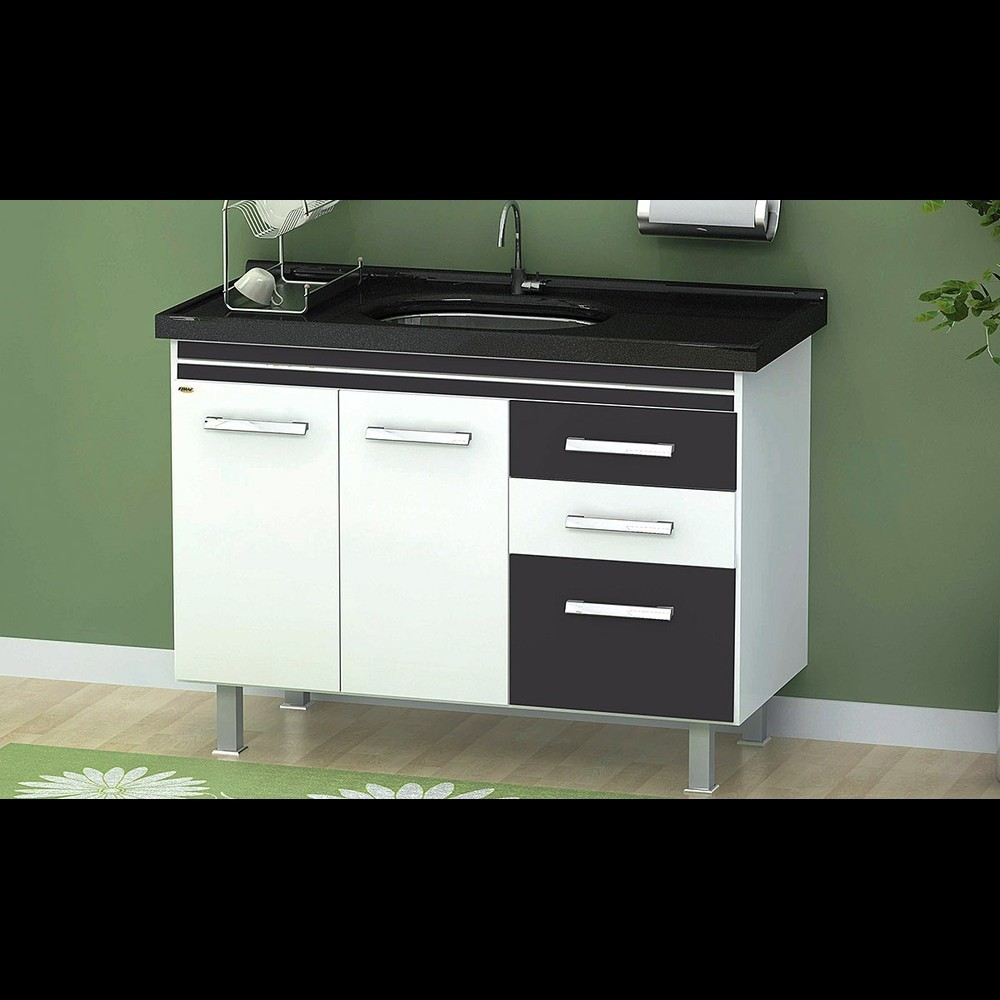 Gabinete Cozinha Criattiva 1,14m Branco/preto Pç Fimap