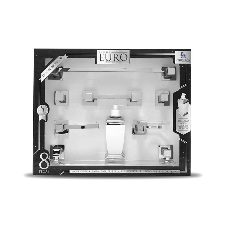 Kit Euro 8 Peças Cromado Cristal Aquaplás