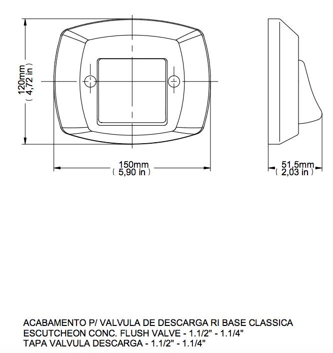 Acabamento De Válvula De Descarga Cromado/Preto Clássica Docol