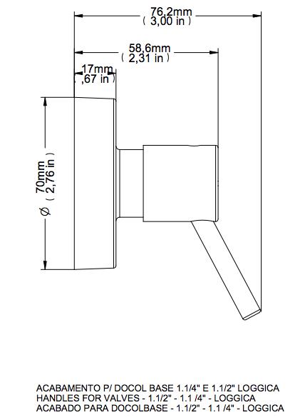 Acabamento Lóggica Cromado Para Registro Base Docol Dn32 1 1/4 e Dn40 1 1/2 Docol