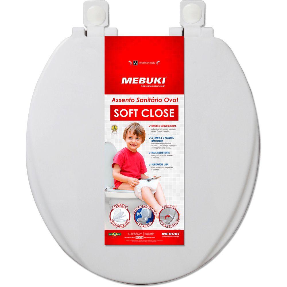 Assento Sanitário Soft Close Oval Convencional Branco Mebuki