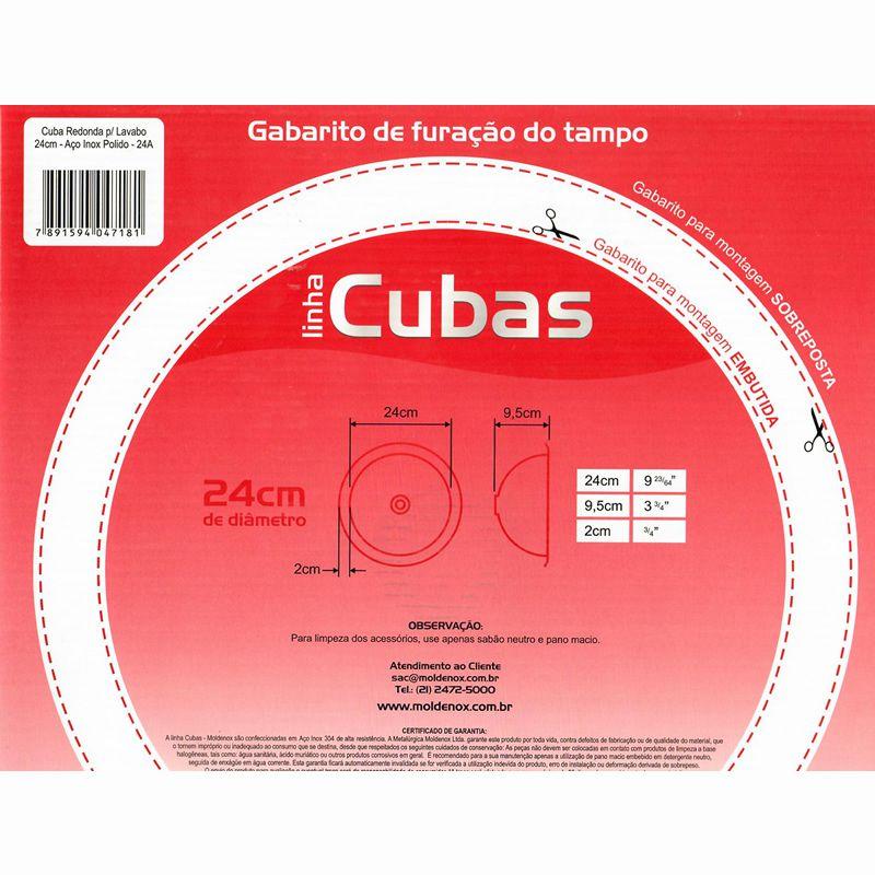 Cuba Redonda P/Lavabo 24Cm Aço Inox 304 Polido 24A- Moldenox