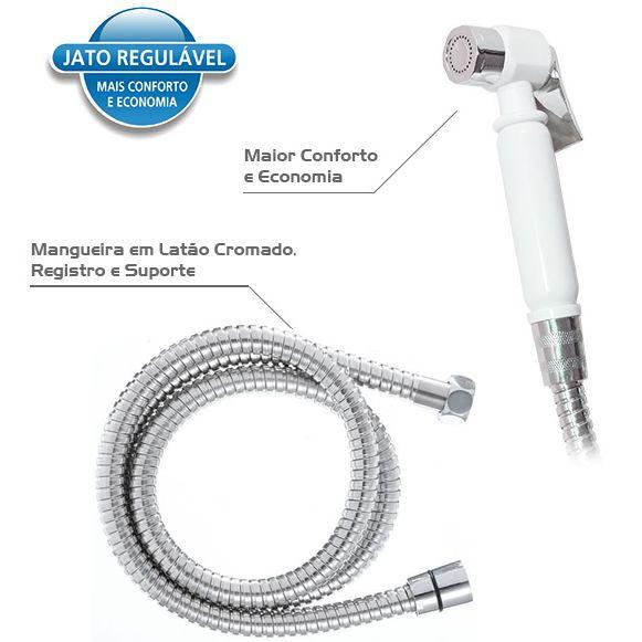 Ducha Higiênica ABS Cromado/Branco Jato Regulável Moldenox