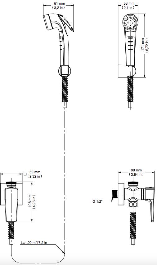 Ducha Higiênica Lift com Registro e Derivação Cromado Docol