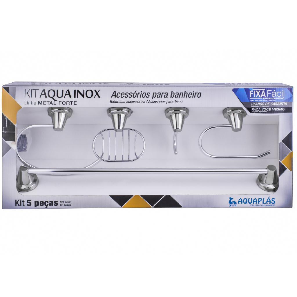 Kit Banheiro Aquainox 5 Peças Aquaplás