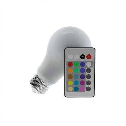 Lâmpada Bulbo LED 3,5w Rgb Colorido E27 Bivolt c/ Controle Remoto Luminatti