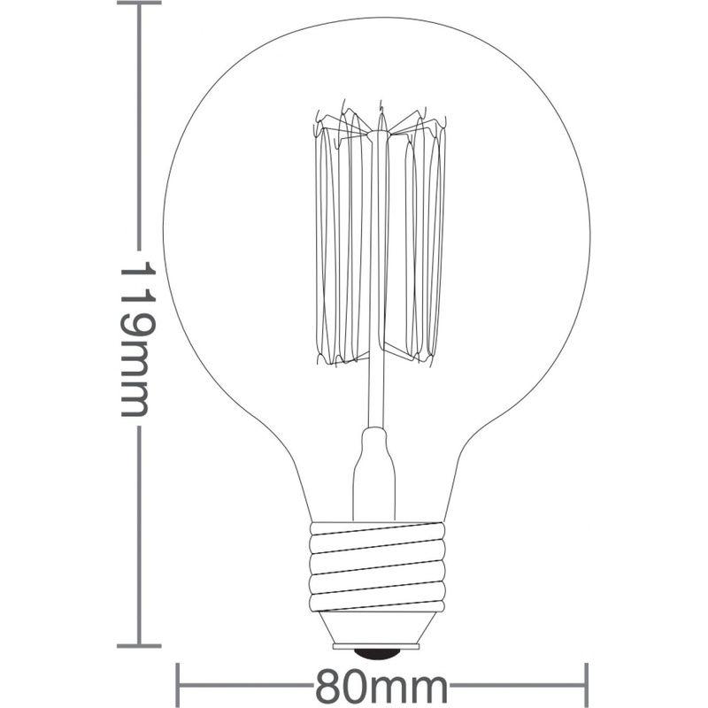 Lâmpada Filamento Carbono G80 E27 40W Âmbar 2200K 127V Taschibra