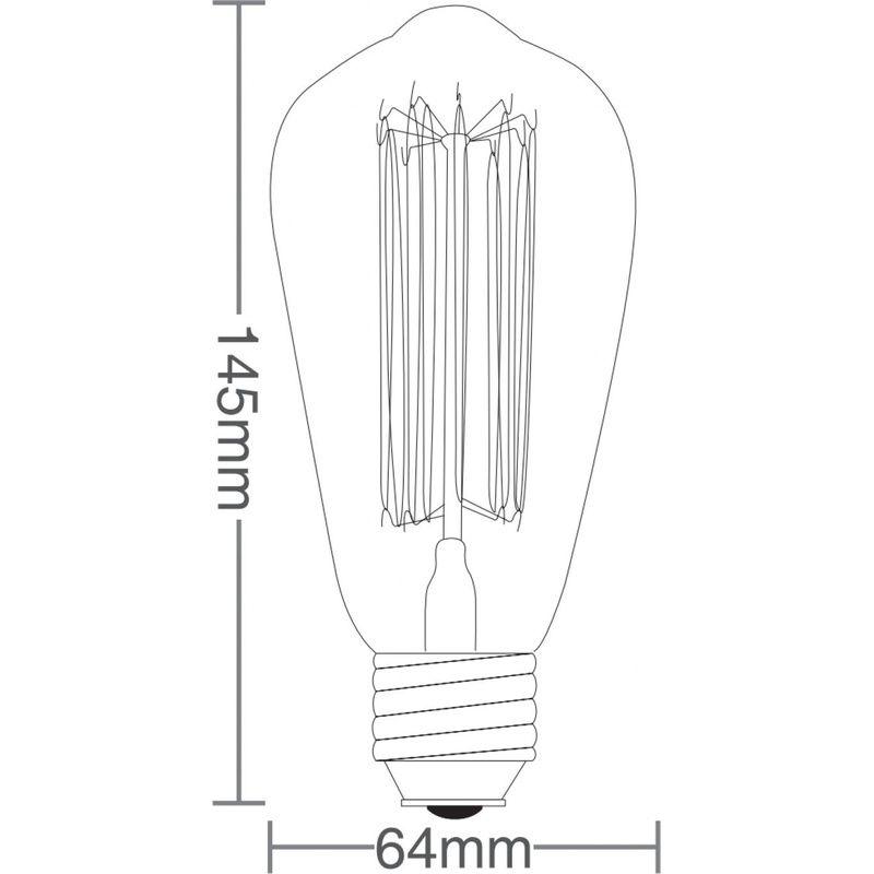 Lâmpada Filamento Carbono ST64 E27 40W Âmbar 2200K 127V Taschibra