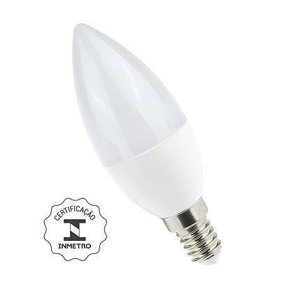 Lâmpada Vela LED Leitosa 6W 6000K E14/E27 Bivolt Luminatti