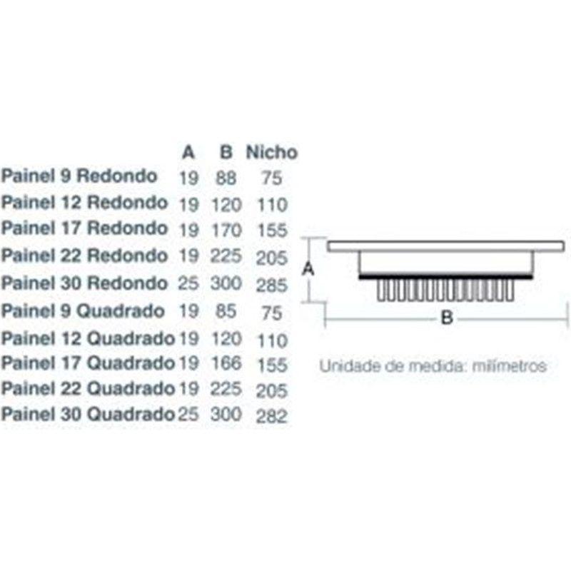 Painel LED 17 Embutir Redondo 12W 3000K 100/240V Taschibra