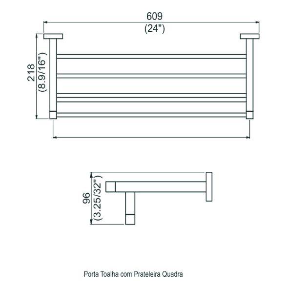 Prateleira Quadra Porta Toalha com Perflex