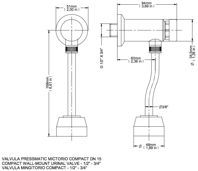 Pressmatic Válvula De Mictório Cromado Compact Docol