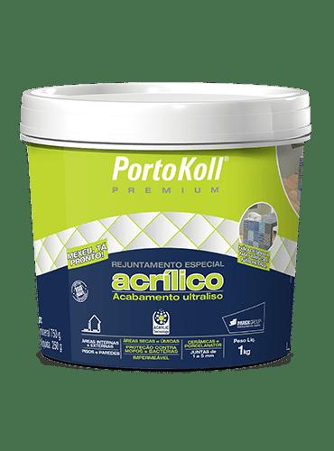 Rejunte Acrílico Premium Cinza Platina 1kg Portokoll