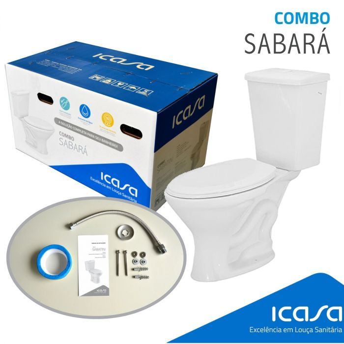 Sabara Kit De Vaso Com Caixa Acoplada Branco (Assento+Rabicho+Parafusos+Anel Vedação) Icasa