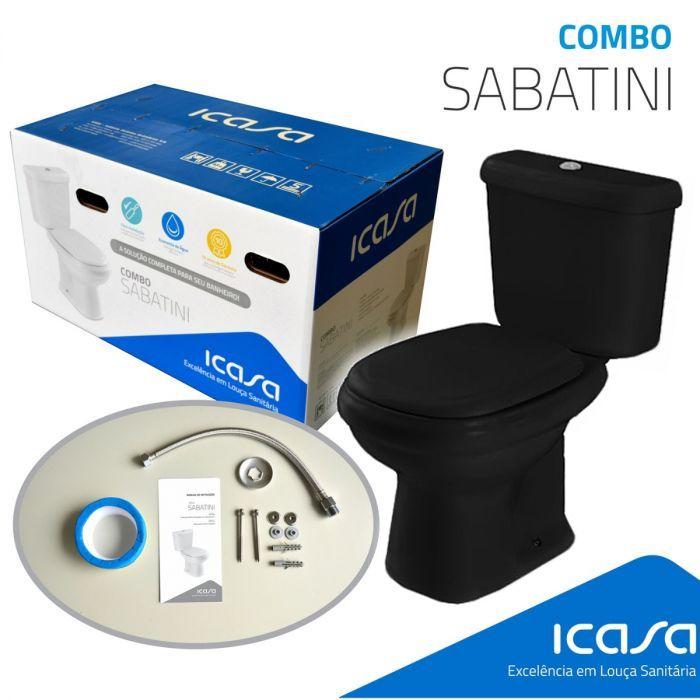 Sabatini Kit De Vaso Com Caixa Acoplada Preto (Assento+Rabicho+Parafusos+Anel Vedação) Icasa