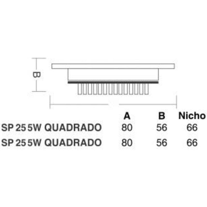 Spot Led Sp25 Embutir Quadrado 5W 3000K 100/240V Taschibra