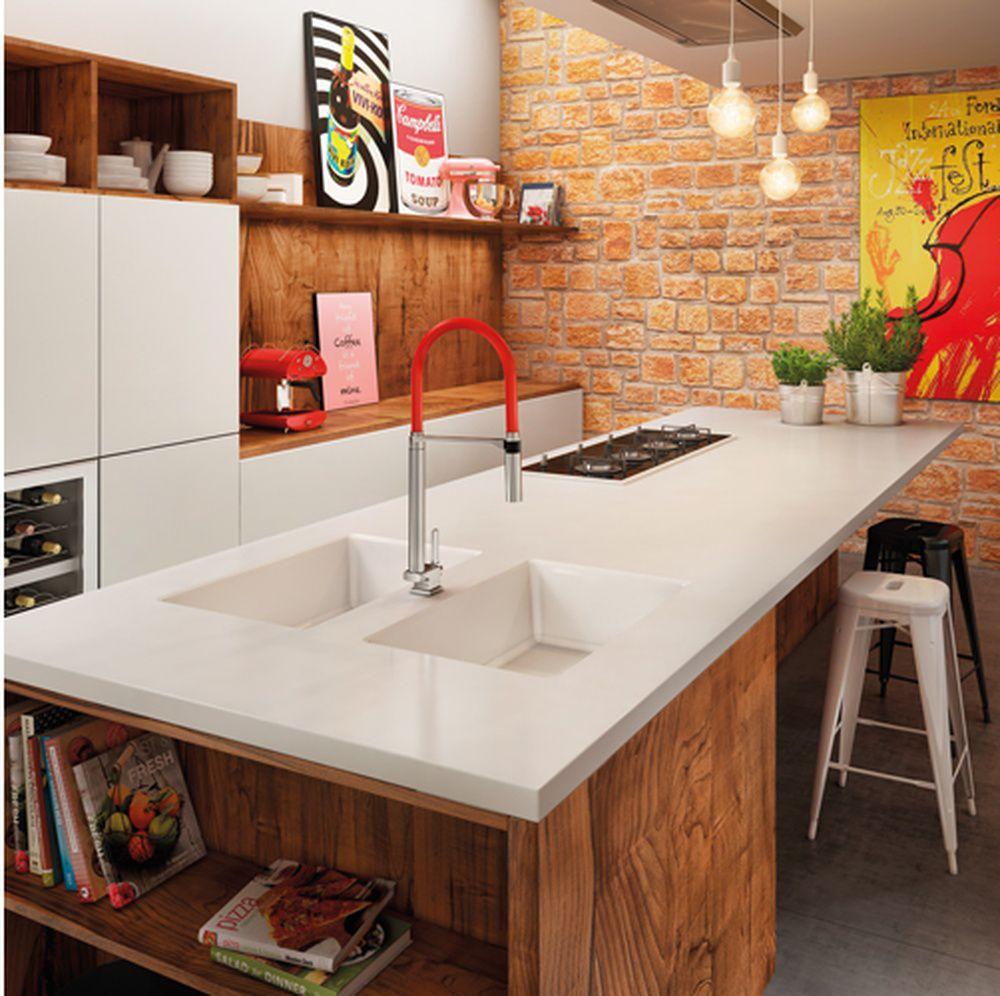 Torneira de Cozinha Docolspice Mesa Bica Alta Cromado/vermelho Docol