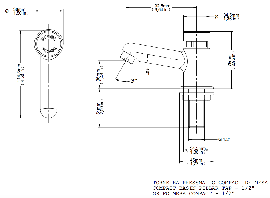 Torneira Pressmatic De Lavatório Mesa Cromado Compact Docol