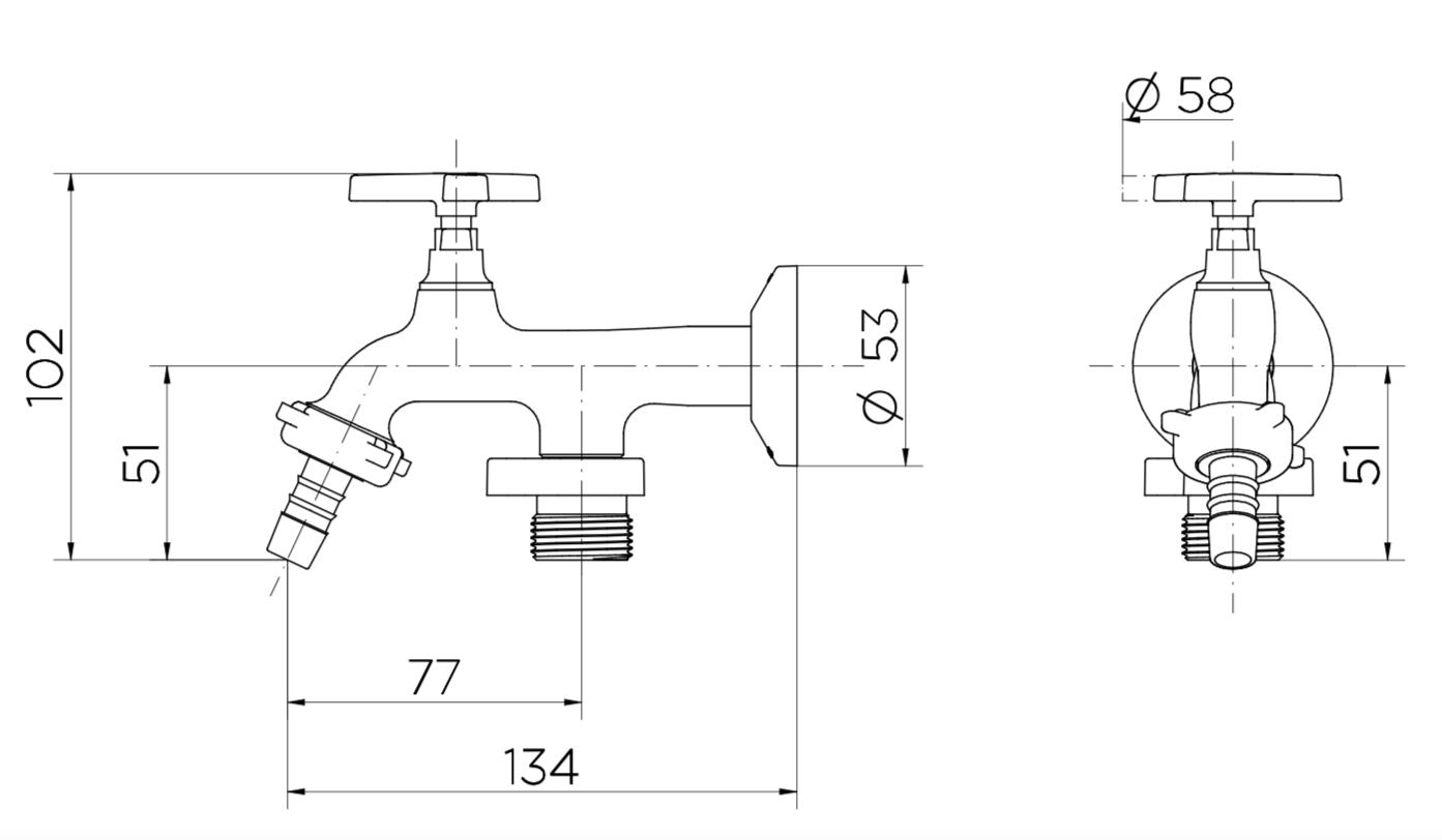 Torneira Nova Pertutti com Bico de Máquina Lavar Parede Cromado 1134 Docol