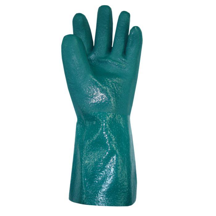 Luva de PVC Com 30 CM Forrada Palma Áspera Cor Verde PlastCor CA  34.570