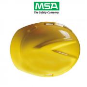 Capacete MSA V Gard Amarelo Aba Frontal Suspensão Push Key e Jugular Classe B CA 498