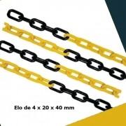 Corrente Plastica de Isolamento Elo Pequeno Cor Preto e Amarelo Plastcor