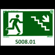 Placa de Sinalização Fotoluminescente Saída de Emergência Escada Desce Direita 205 x 110 mm Visibilidade: 6 m ADVCOMM Plus