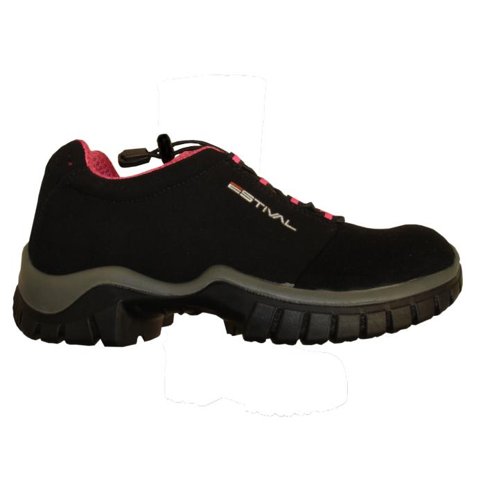 Sapato Ocupacional Em Microfibra Na Cor Preto e Rosa Estival Modelo EN1002 1S2 CA 28140