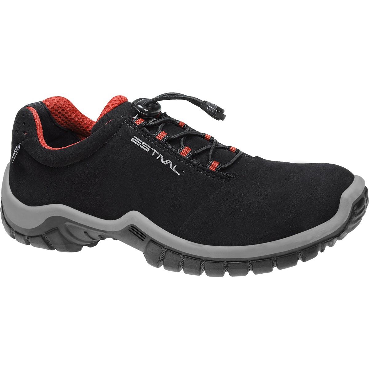 Sapato de Segurança Com Bico Composite Em Microfibra Cor Preta e Vermelho Estival Modelo EN1002 3S2 CA 33944
