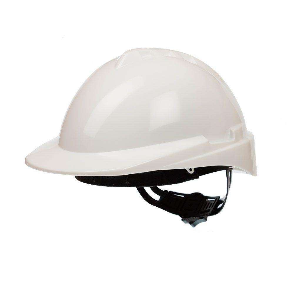 Capacete de Segurança MILENIUM CLASS, Casco Branco, CA 35735, Suspensão Têxtil Com Ajuste Catraca + Jugular - Libus