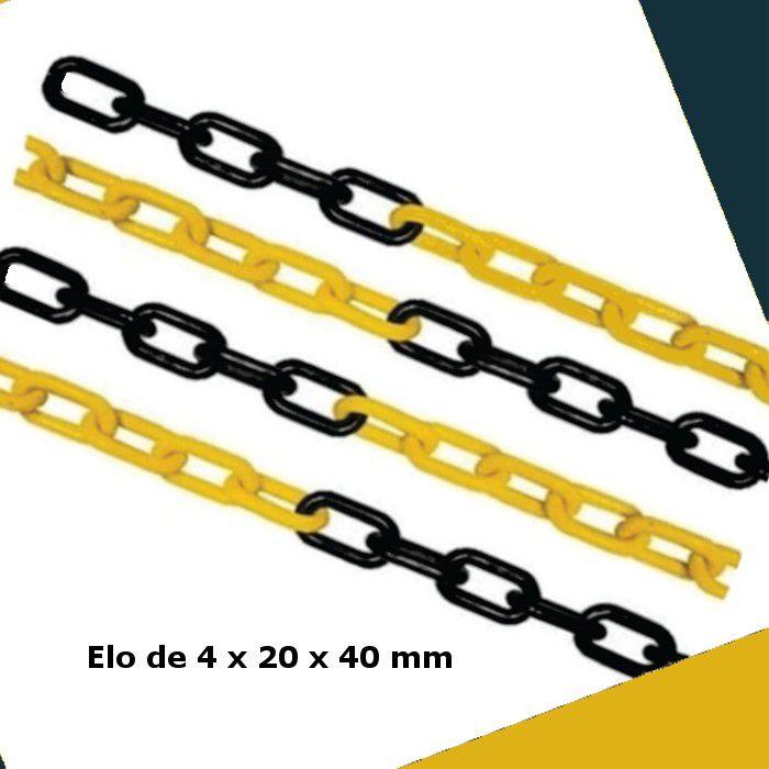 CORRENTE PLASTICA DE ISOLAMENTO ELE PEQUENO COR PRETO E AMARELO PLASTCOR