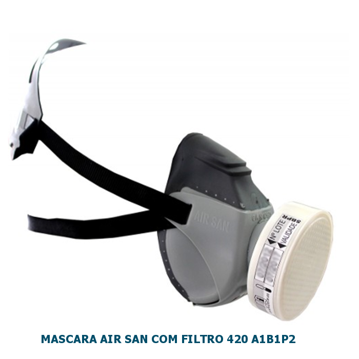 KIT MASCARA AIR SAN SEMIFACIAL COM FILTRO 420 AIB1P2 (VO+GA+P2) AIR SAFETY CA 12973 - NCM 9020.00.10