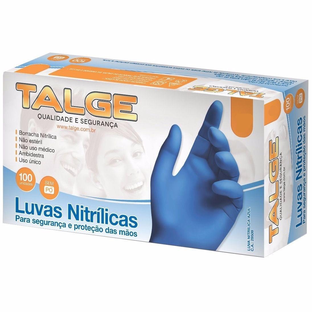 Luva Nitrilica Talge Sem Pó Cor Azul Caixa 100 ud CA 29509