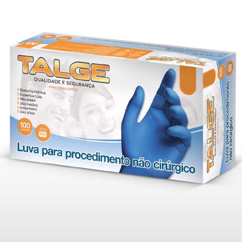 Luva Nitrilica Talge Sem Pó Cor Azul Contra Agentes Biológicos Caixa 100 ud CA 39270