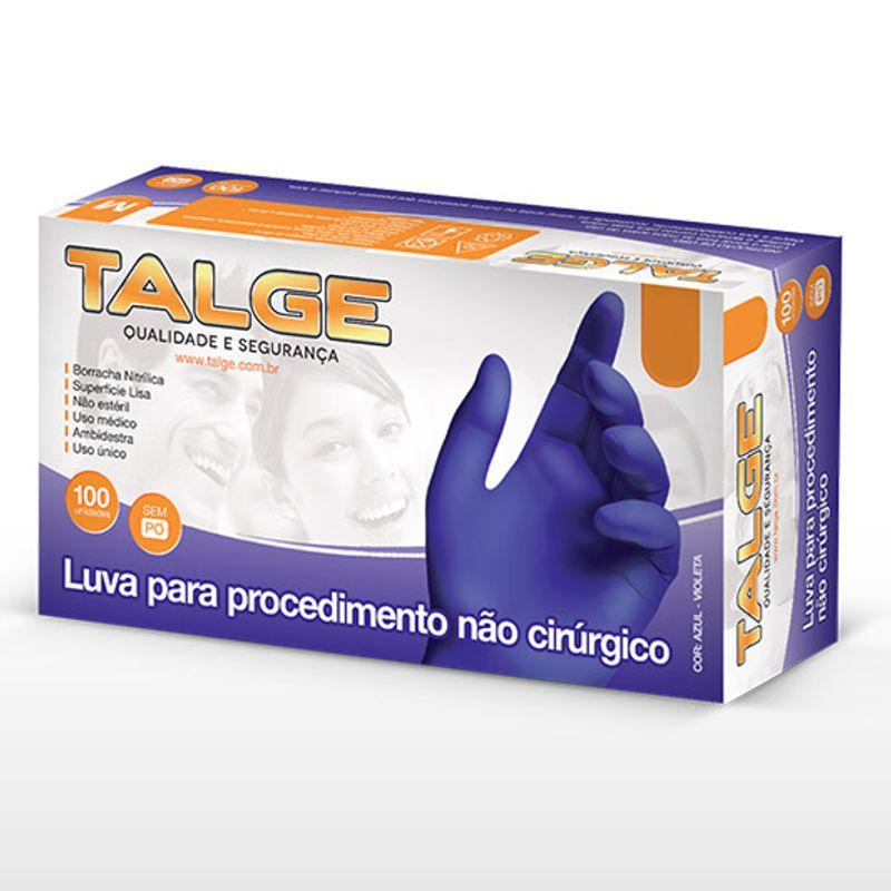 Luva Nitrilica Talge Sem Pó Cor Azul Violeta Contra Agentes Biológicos Caixa 100 ud CA 39268