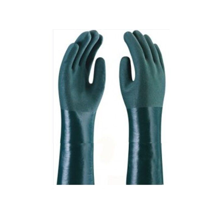 Luva De PVC Cano 350 cm Forrada Palma Áspera Cor Verde Handschuhe TAM. 9.1/2 - CA 1170
