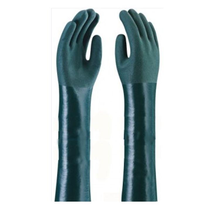 Luva de PVC Cano 70 cm Forrada Palma Áspera Cor Verde Handschuhe TAM. 9.1/2 - CA 1170