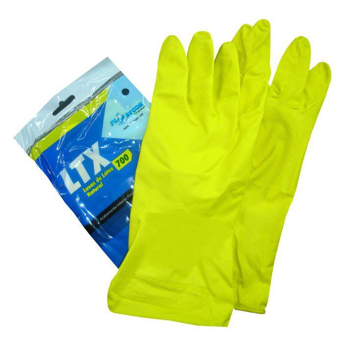 Luva Látex Natural Plastcor LTX700 Acabamento Flocado CA 34141