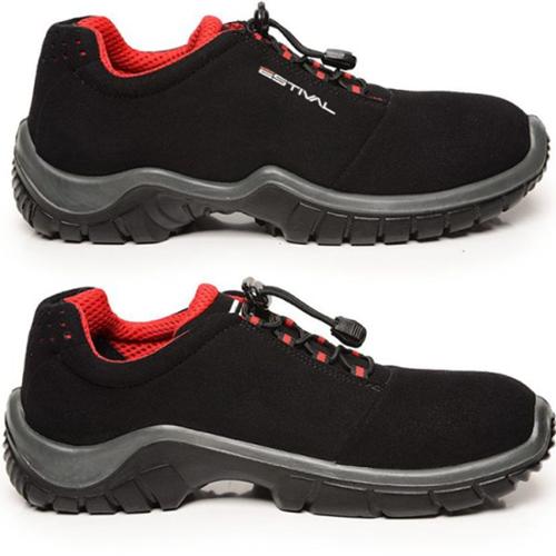 Sapato de Segurança EN1002 3S2 Com Bico Composite Em Microfibra Cor Preto e Vermelho Estival CA 42554