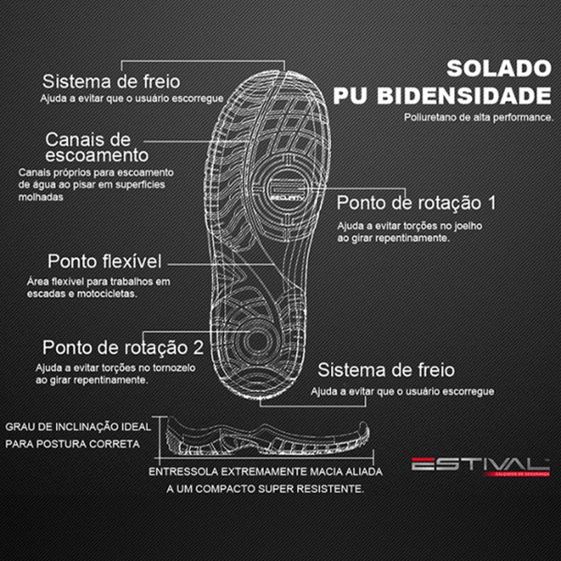 EN10023S2 SAPATO DE SEGURANÇA COM BICO COMPOSITE EM MICROFIBRA PRETO E VERMELHO ESTIVAL CA 42554